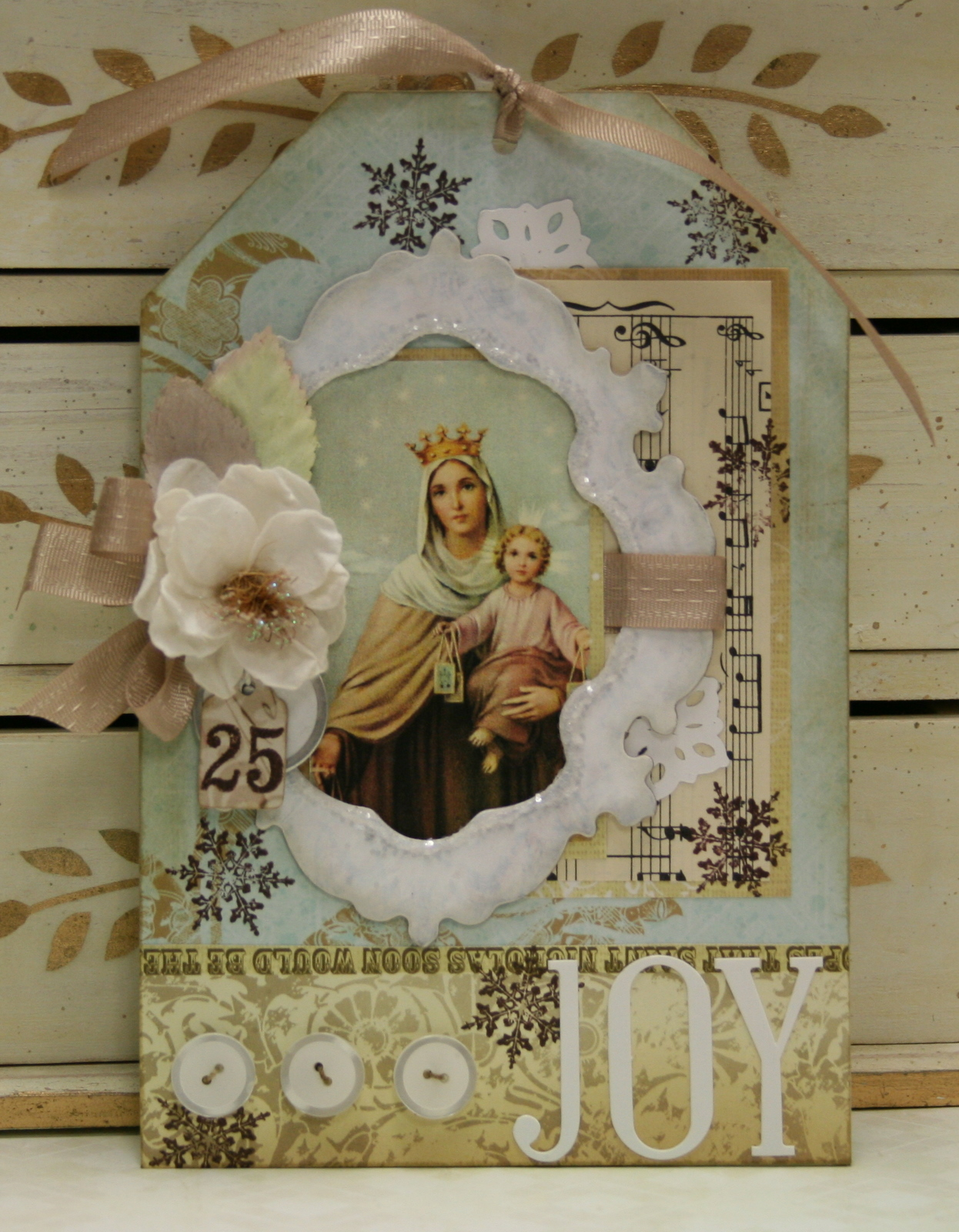 Shabby chic christmas tag polly 39 s paper studio for Shabby chic christmas