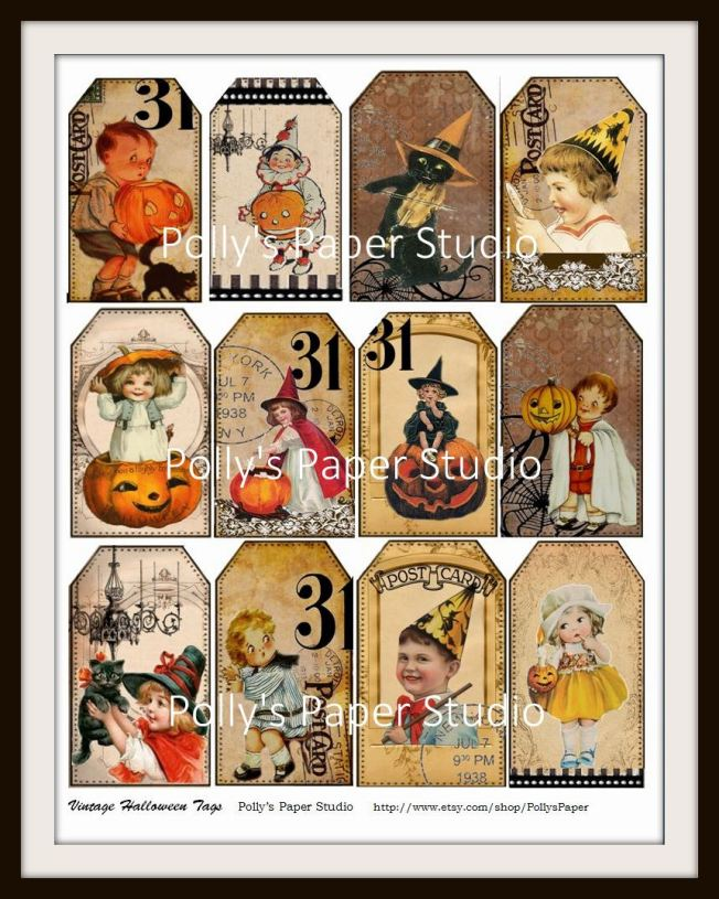 Vintage Halloween Tags Digital Collage for Etsy 2013-006