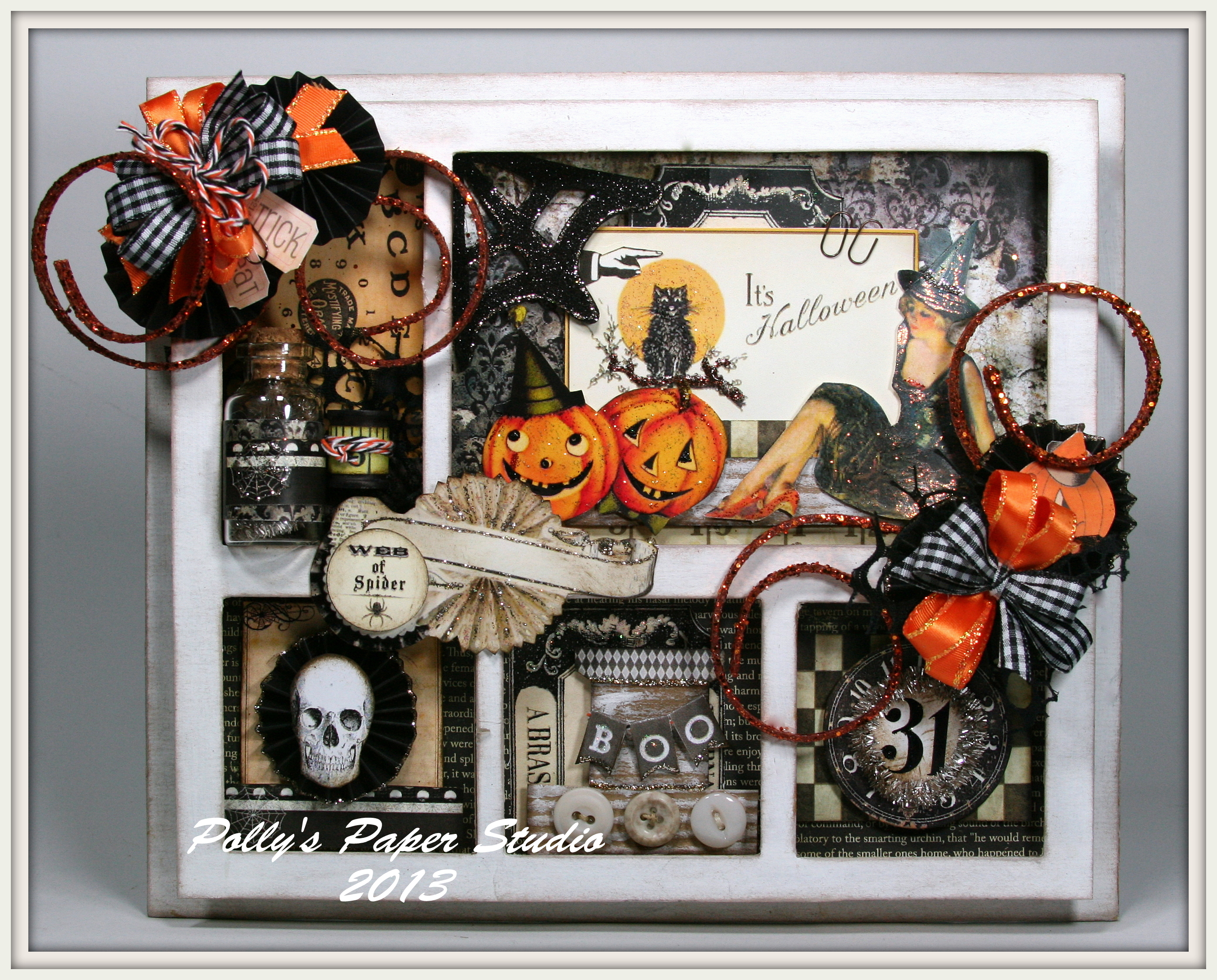 Vintage halloween paper decorations - I Recycled 2 Old Chipboard Mats And With The Help Of My Scor Buddy I Made Tiny Boxes To Sandwich Between Them To Create A Spooky Shadow Box To Decorate My