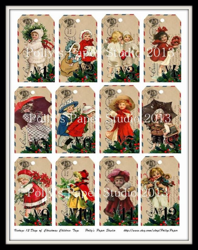 Vintage 12 Days of Christmas Children Tags
