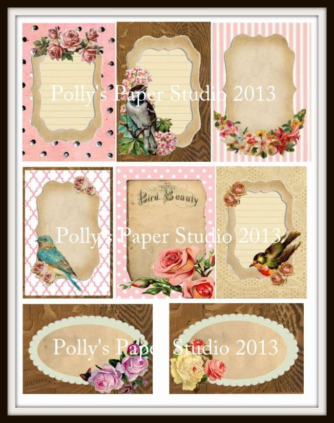 VINTAGE Birds and Flowers Journal Card