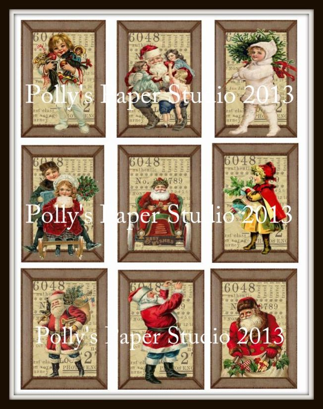 Vintage Christmas Frames Digital Collage