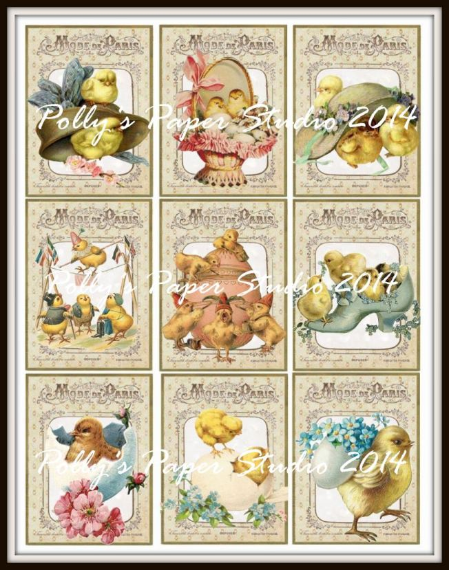 Vintage Easter Chick Button Cards