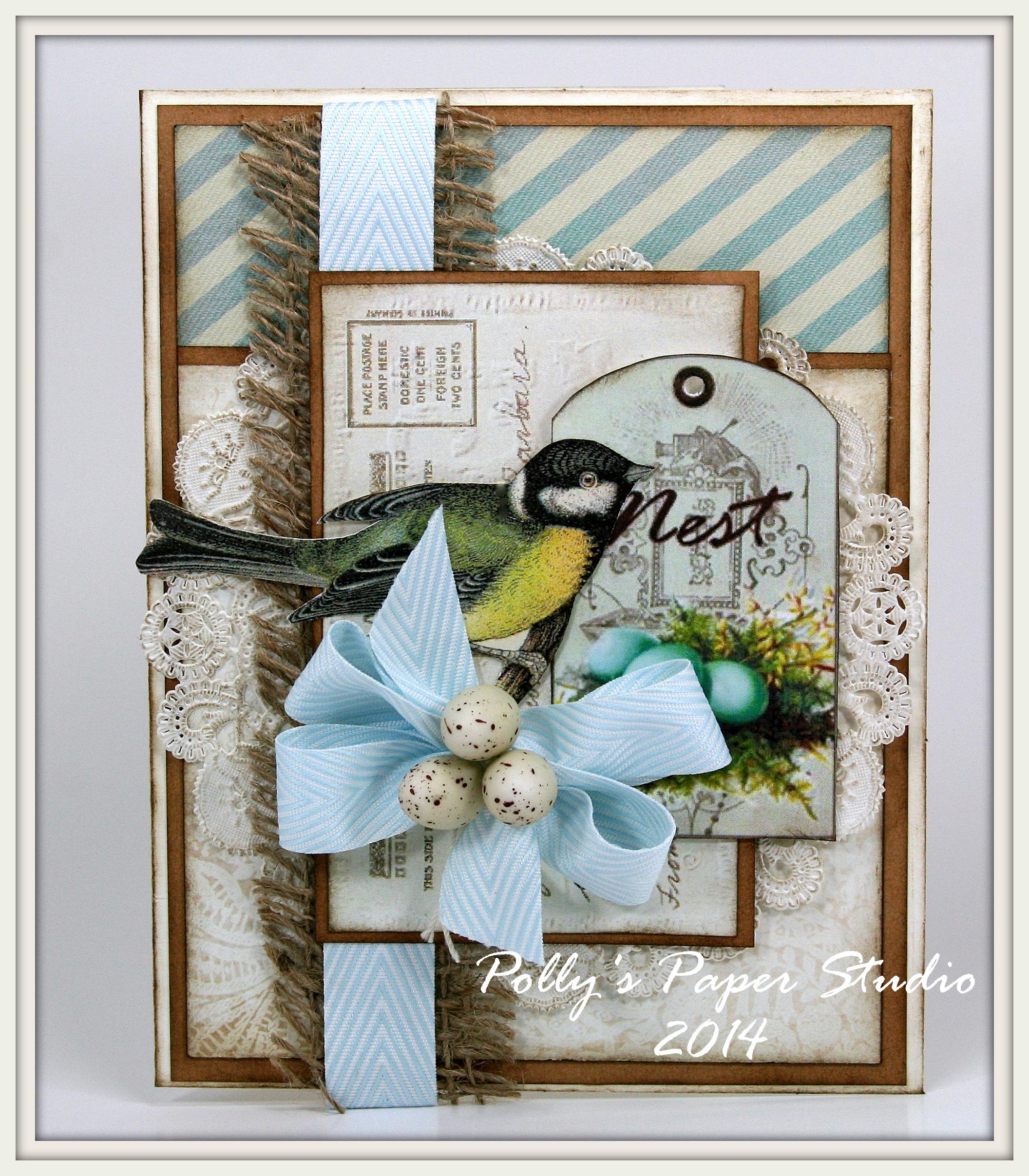 Днем, скрапбукинг открытка с птичкой