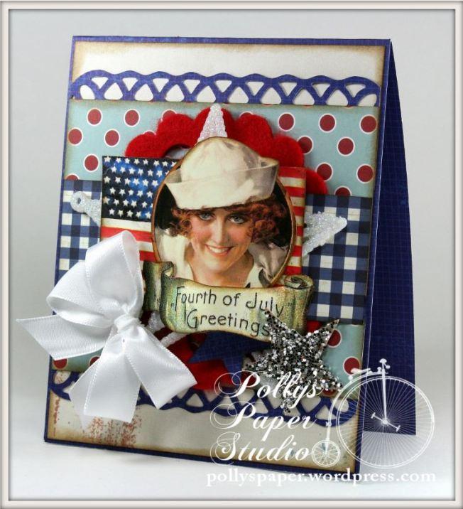 Fourth of July Saior Girl Card
