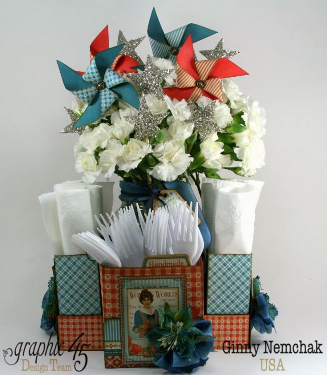 Home Sweet Home Floral Centerpiece Napkin and Utensil Holder 1