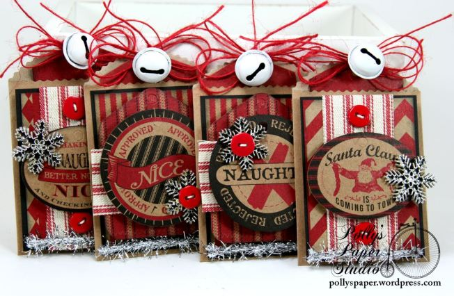 Naughty and Nice Tags with Pockets Set of 4 Handmade 1