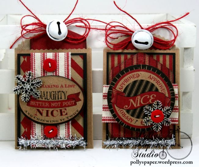 Naughty and Nice Tags with Pockets Set of 4 Handmade 2