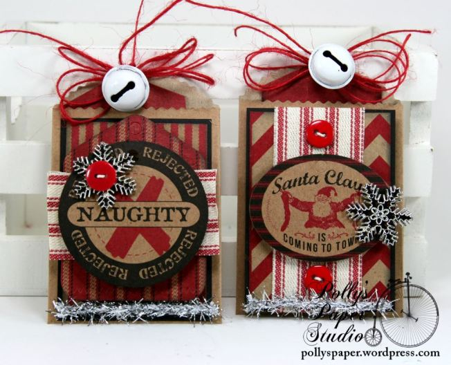 Naughty and Nice Tags with Pockets Set of 4 Handmade 4