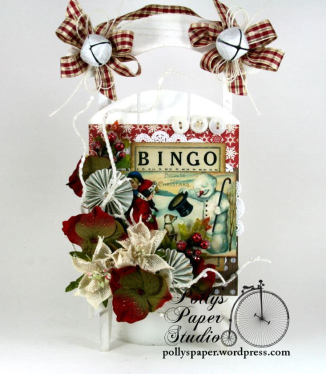Bingo Christmas Sleigh Holiday Decor Handmade 1