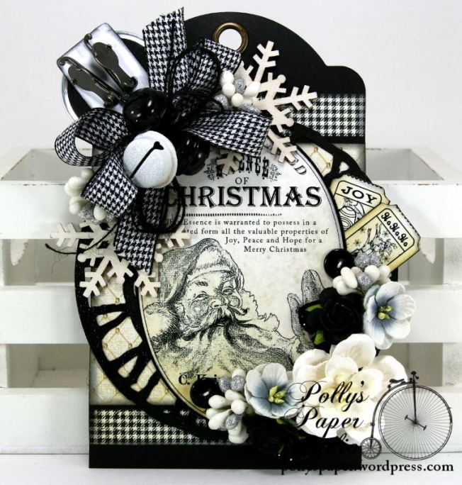 Christmas Tag Black and White 1