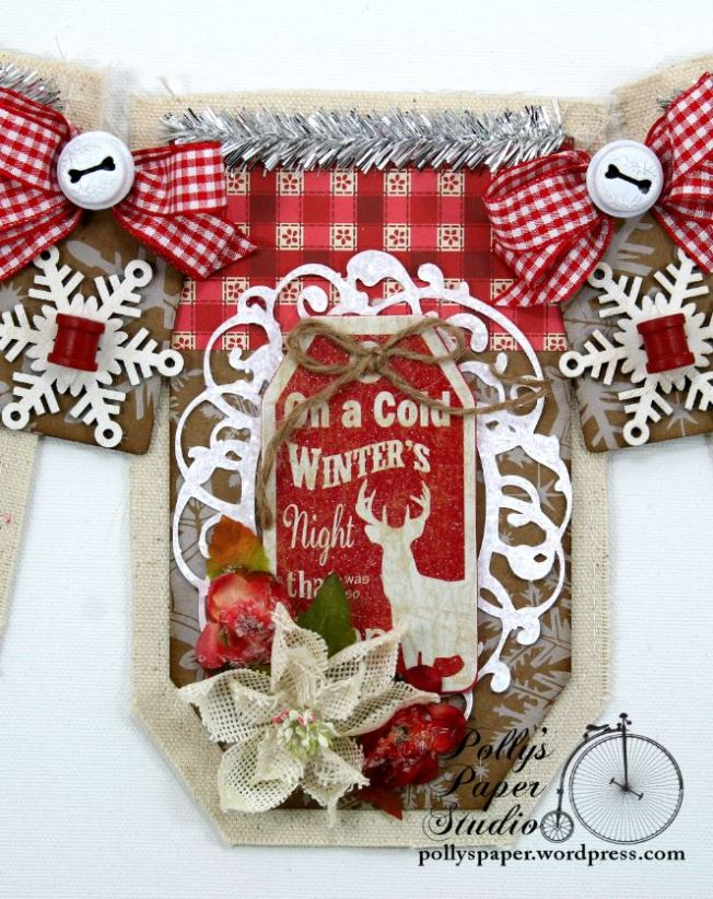 Country Chic Christmas Banner Holiday Home Decor Handmade 2
