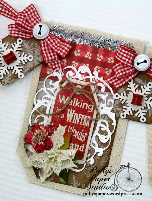 Country Chic Christmas Banner Holiday Home Decor Handmade 3