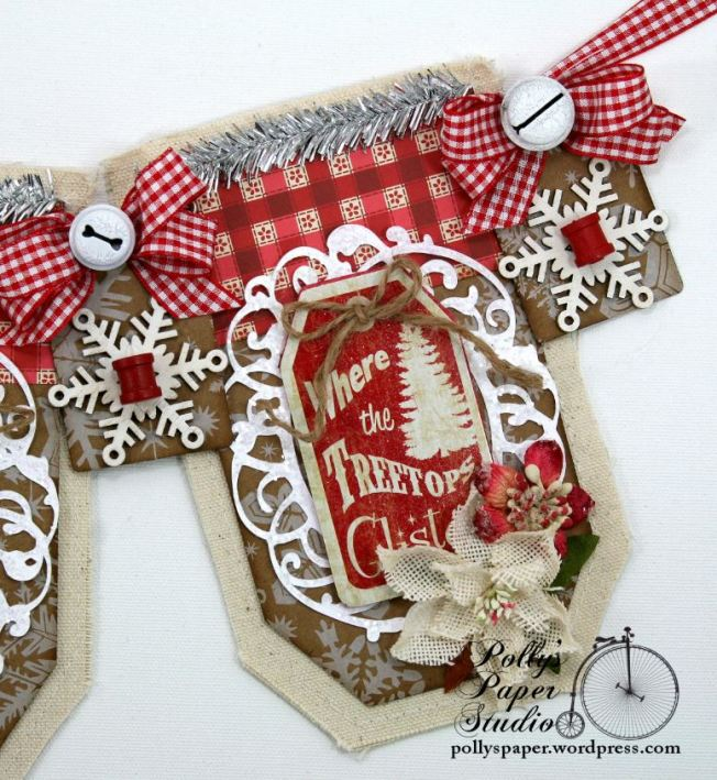 Country Chic Christmas Banner Holiday Home Decor Handmade 4