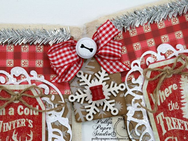 Country Chic Christmas Banner Holiday Home Decor Handmade 5