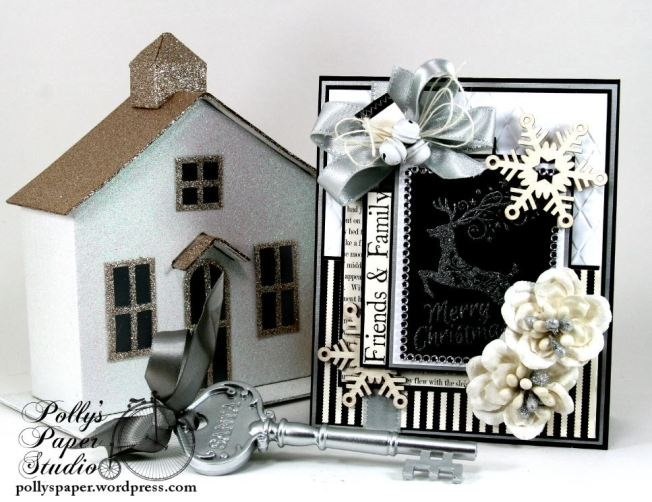 Mery Christmas Black and White and Silver Card 1