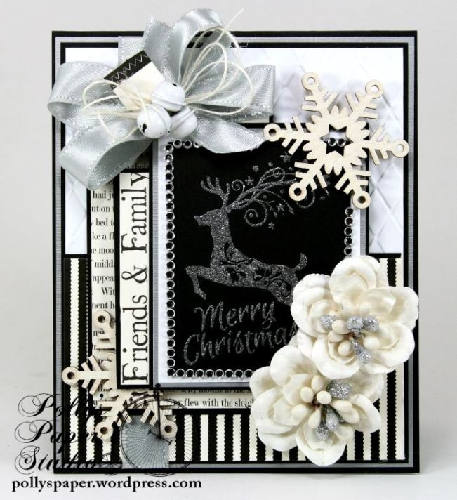 Mery Christmas Black and White and Silver Card 2