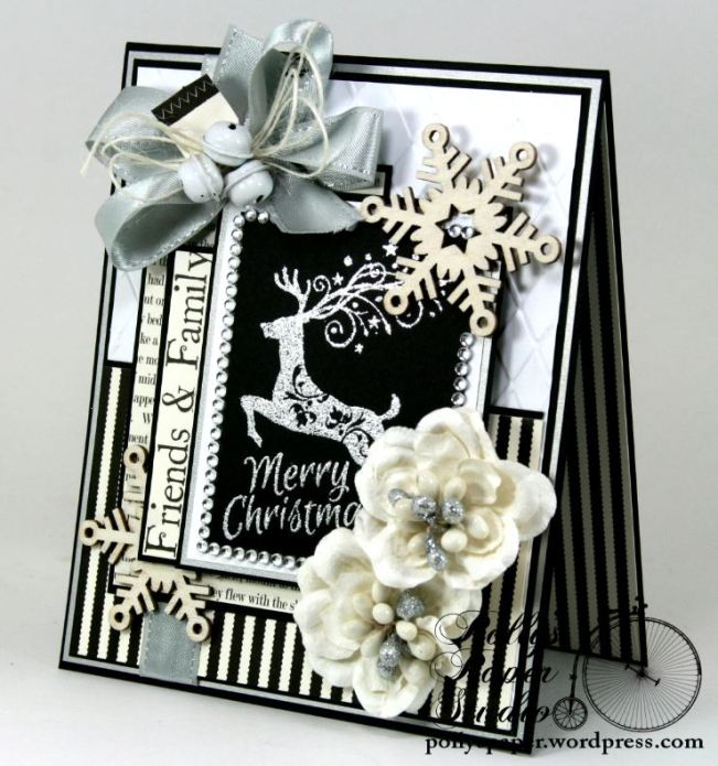Mery Christmas Black and White and Silver Card 3