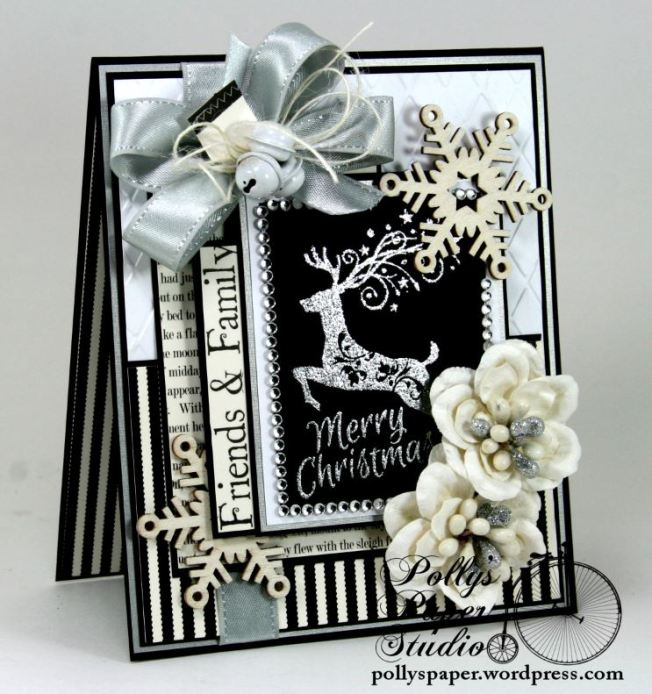Mery Christmas Black and White and Silver Card 4