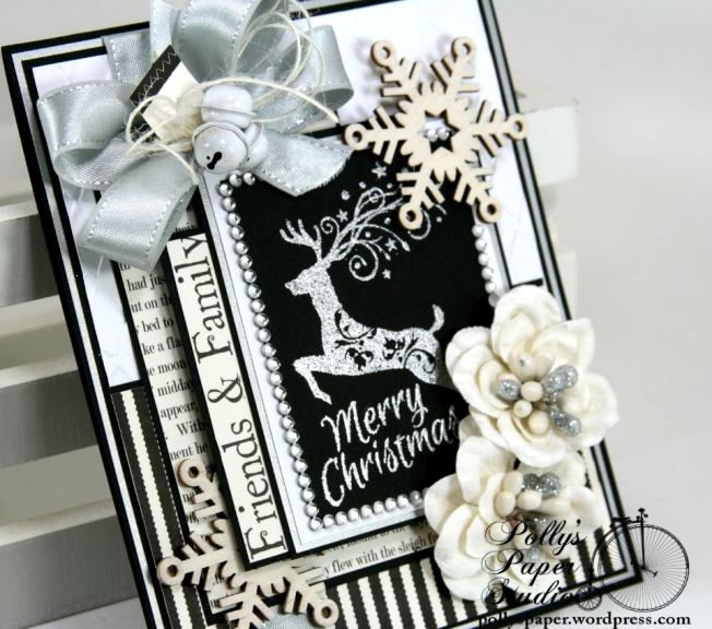 Mery Christmas Black and White and Silver Card 5