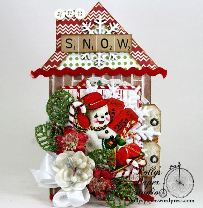 Snowman Chalet House Tag 1