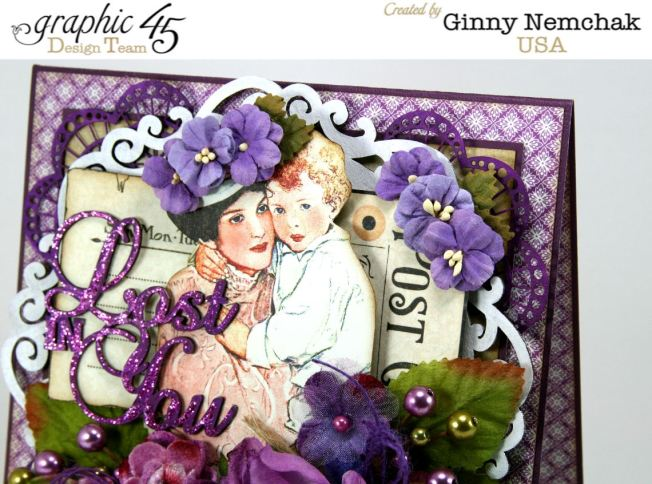Children's Hour Petaloo Graphic45 Blog Hop Lost in You Greeting Card 3