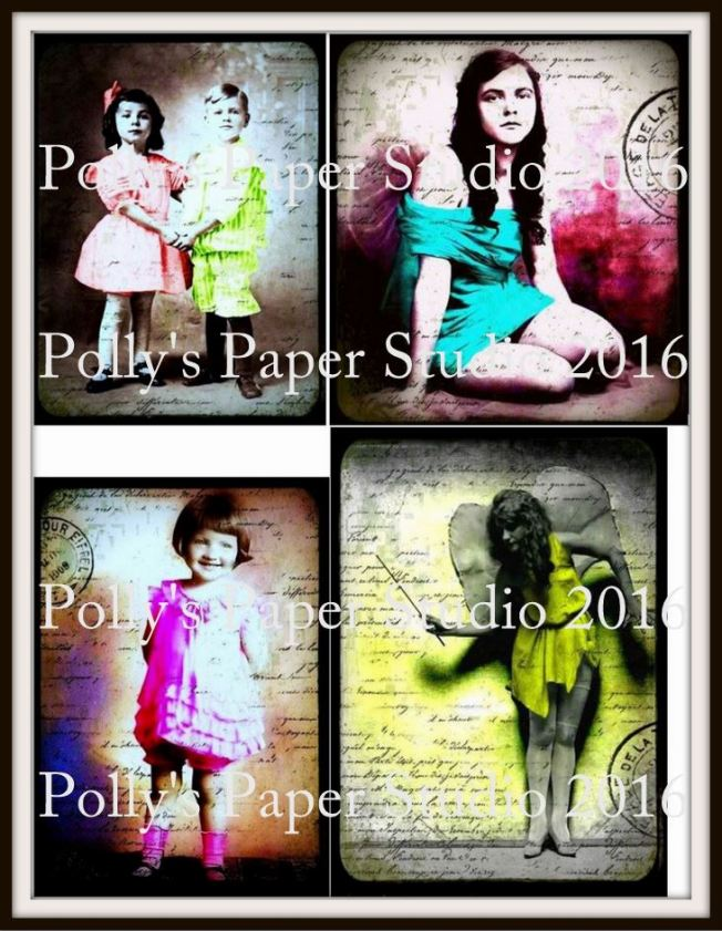 Vintage Photos Collage for Mixed Media  Watermark