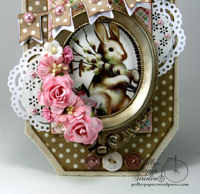 Pink Bunny Frame Shabby Chic Easter Wall Hanging 2