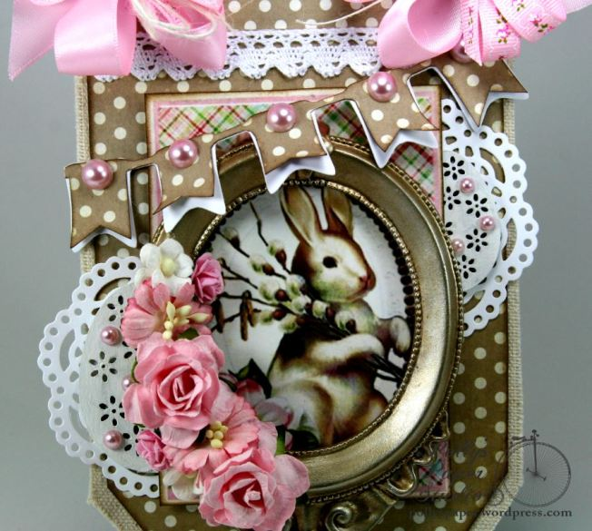 Pink Bunny Frame Shabby Chic Easter Wall Hanging 3