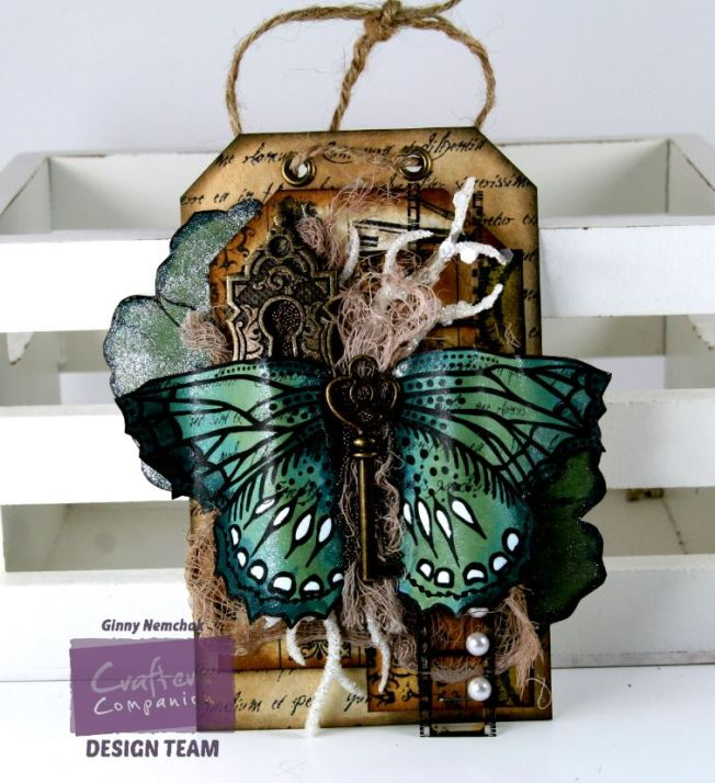 Vintage Sparkle Pen Butterfly Tag 1