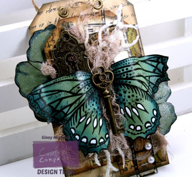 Vintage Sparkle Pen Butterfly Tag 2