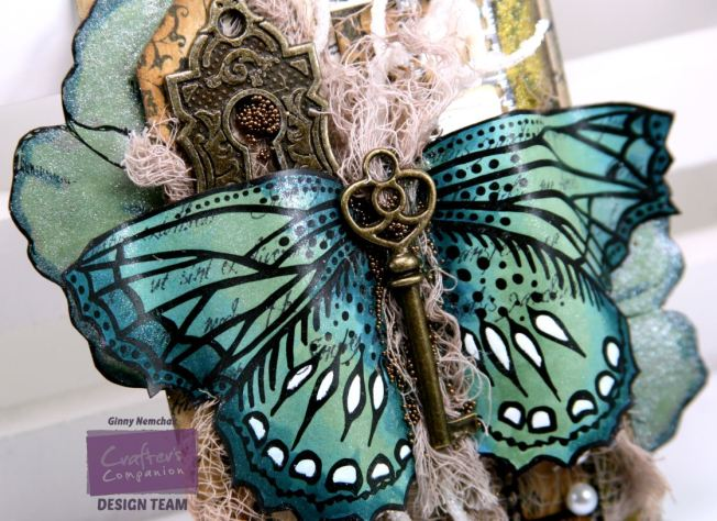 Vintage Sparkle Pen Butterfly Tag 3