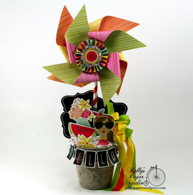Summer Fun Pinwheel Peat Pot Topiary1