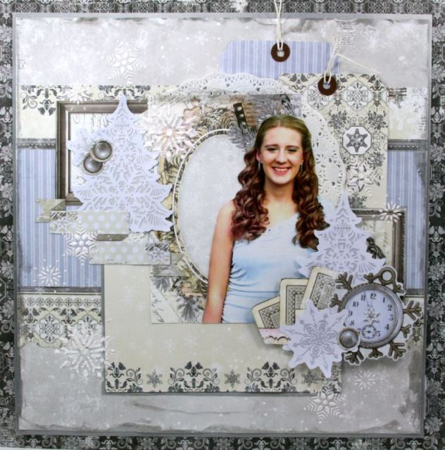 A Moment in Time Scrapbook Page by Ginny Nemchak using BoBunny Winter Wishes