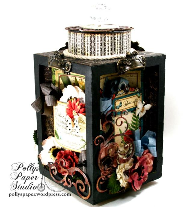 Natures Skethcbook Florals Spinning Shadow Box Display Polly's Paper Studio 01