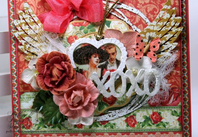 Hearts and Wings Vintage Valentine Greeting Card Holiday Decor Polly's Paper Studio Handmade