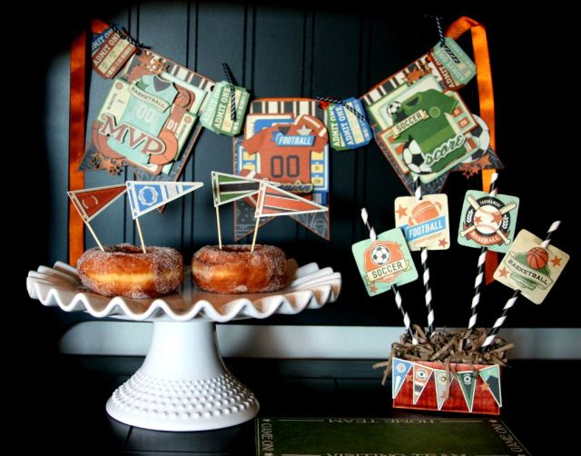 Sport Banner Party Decor by Ginny Nemchak using BoBunny Game On and Pentart Lasur Gel