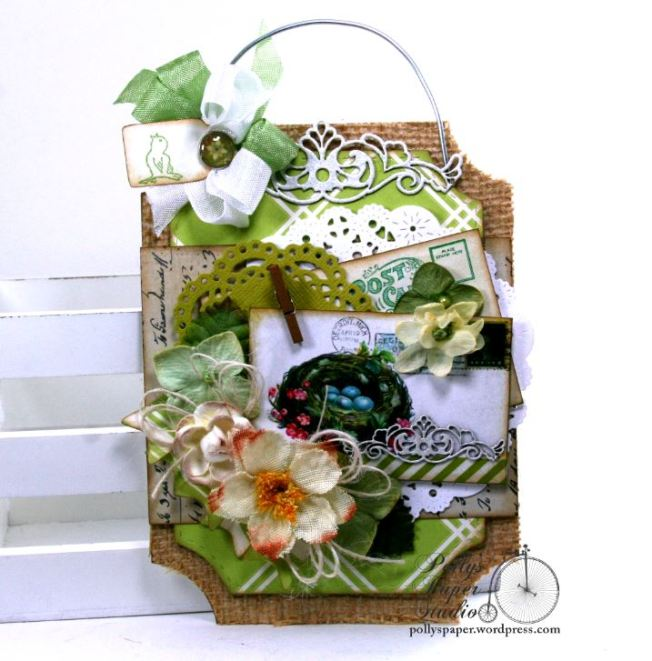 Spring Tag Nest w pink flowers & Blue Eggs Holiday Home Decor Polly's Paper Studio 01