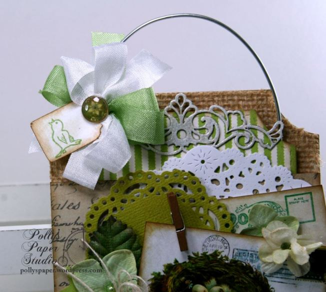 Spring Tag Nest w Blue flowers & Speckled Eggs Holiday Home Decor Polly's Paper Studio 04
