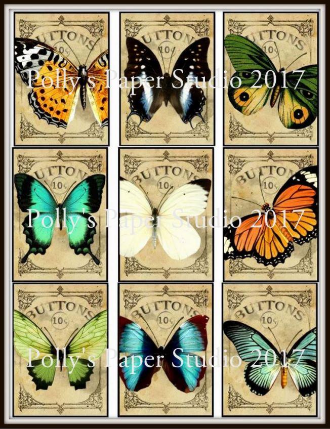 Butterfly Button Card Sheet Pollys Paper Studio Watermark