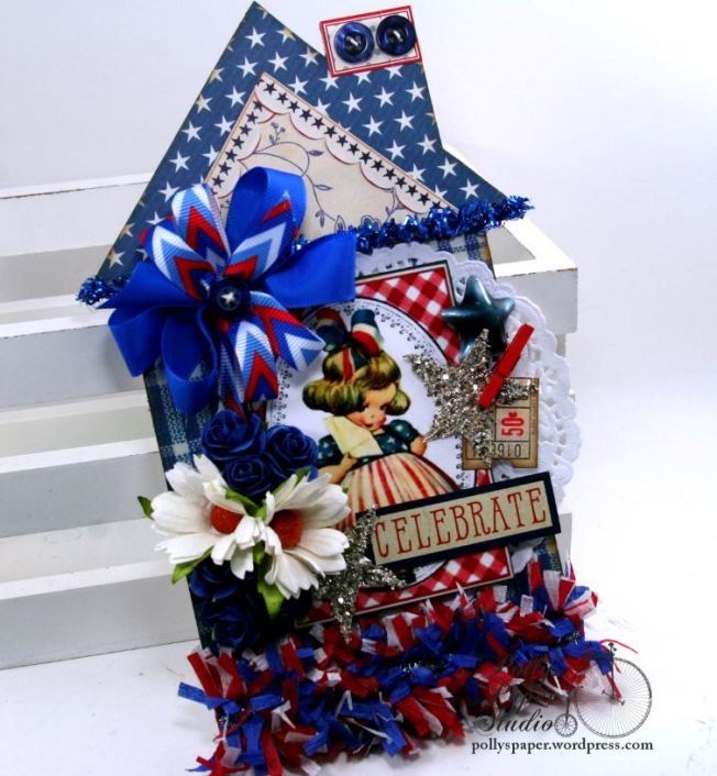 Celebrate Patriotic House Tag Holiday Home Decor Polly's Paper Studio 01