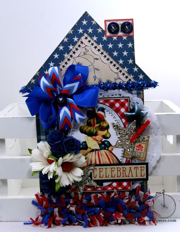 Celebrate Patriotic House Tag Holiday Home Decor Polly's Paper Studio 02