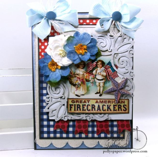 Great American Firecracker Patriotic Wall Hanging Home Decor Polly's Paper Studio 01