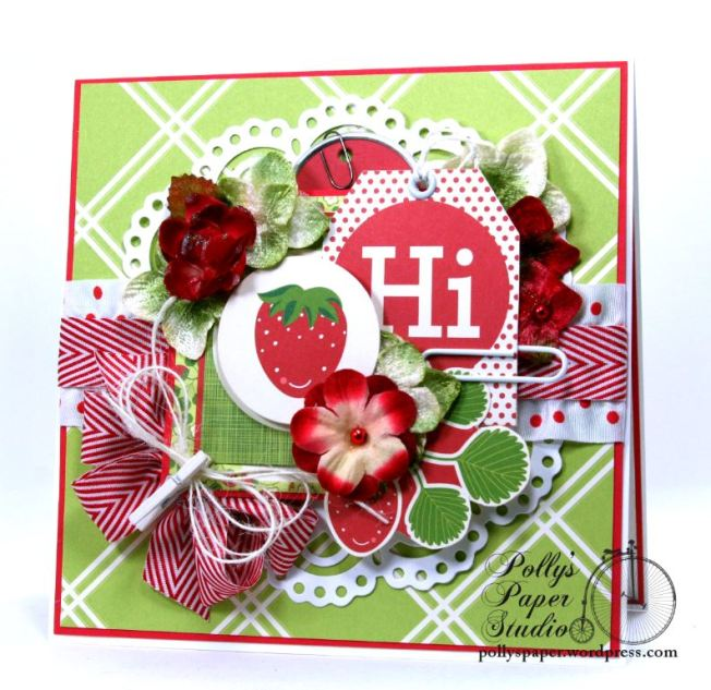 Hello Summer Strawberry All Occasion Greeting Card Polly's Paper Studio 01