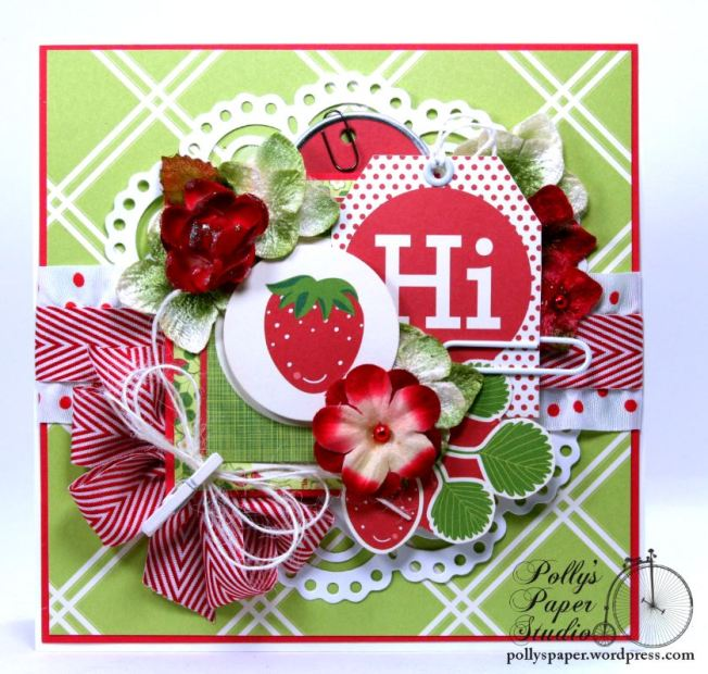 Hello Summer Strawberry All Occasion Greeting Card Polly's Paper Studio 02