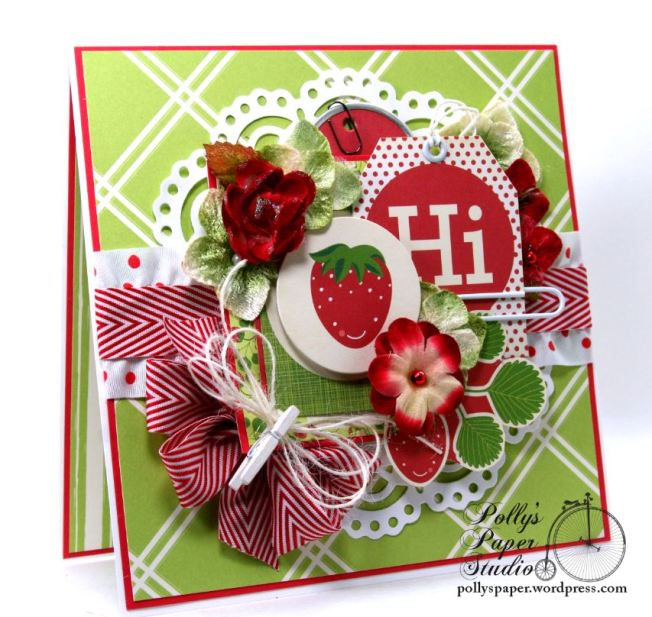 Hello Summer Strawberry All Occasion Greeting Card Polly's Paper Studio 03