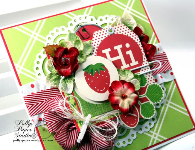 Hello Summer Strawberry All Occasion Greeting Card Polly's Paper Studio 05