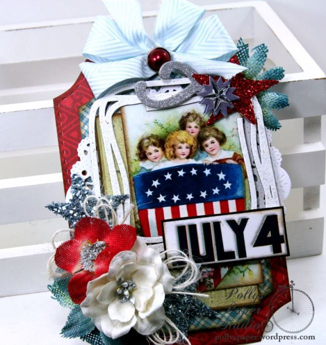 July 4 Patriotic Tag Holiday Home Decor Polly's Paper Studio 01