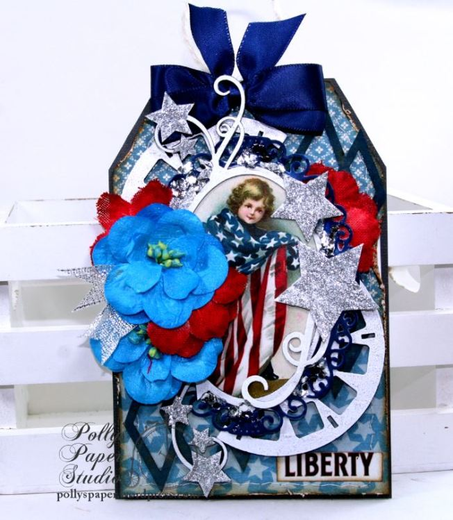 Liberty Patriotic Tag Holiday Home Decor Polly's Paper Studio 01
