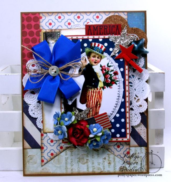 Patriotic Boy Greeting Card Home Decor Holiday Polly's Paper Studio 01